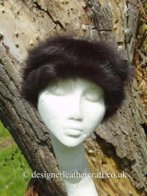 Shaped Toscana Shearling Headband in Dark Brown